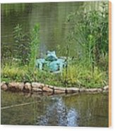 Pond Frog Wood Print
