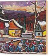 Pond Hockey Birch Tree And Mountain Wood Print