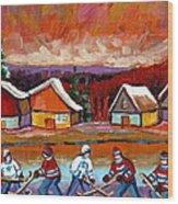 Pond Hockey Game 2 Wood Print