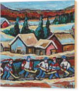 Pond Hockey Game In The Country Wood Print