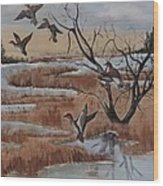 Pond In Fall Wood Print