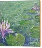 Green Pond With Water Lily Wood Print