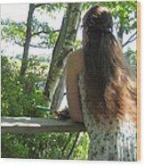 Pondering Wood Print