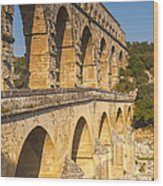 Pont Du Gard Roman Aquaduct Languedoc-roussillon France Wood Print by Colin and Linda McKie