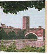 Pont Scaligero On Adige River Wood Print