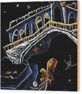 Ponte Di Rialto - Grand Canal Venise Gondola Illustration Wood Print