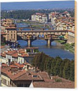Ponte Vecchio And Arno River Wood Print