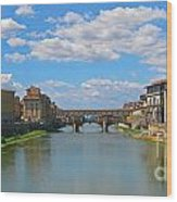 Ponte Vecchio Over The Arno River At Florence Italy Wood Print