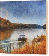 Pontoon Boat Photo Art 02 Wood Print