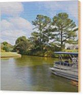 Pontoon Boat Ride On The Lake Wood Print