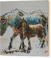Pony And Foal Wood Print