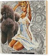 Poodle Art - Una Parisienne Movie Poster Wood Print