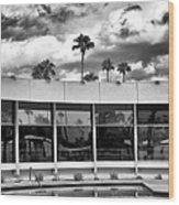 Pool Storm Palm Springs Wood Print