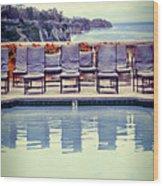 Pool With Views Of The Ocean Wood Print