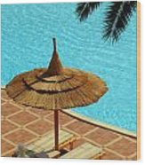 Poolside Relaxation Wood Print