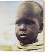 Poor Young Child Portrait. Tanzania Wood Print