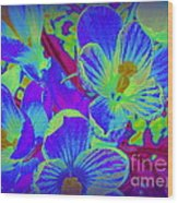 Pop Art Blue Crocuses Wood Print