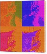 Pop Art Cat  Wood Print by Ann Powell