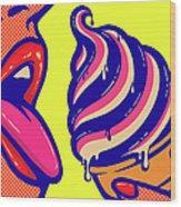 Pop Art Comic Book Mouth Of Woman Wood Print