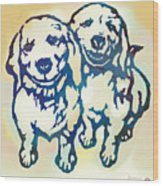 Pop Art Etching Poster - Dog - 10 Wood Print