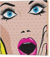 Pop Art Excited Woman. Vector Wood Print