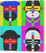 Pop Art People 4 2 Wood Print