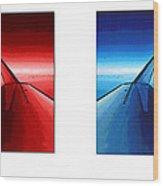 Red Blue Jet Pop Art Planes  Wood Print