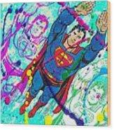 Pop Art Superman Wood Print