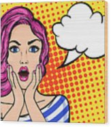 Pop Art Surprised Woman With Open Mouth Wood Print