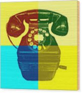 Pop Art Vintage Telephone 1 Wood Print