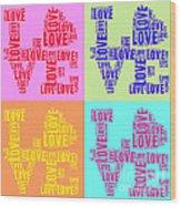 Pop Love Collage Wood Print