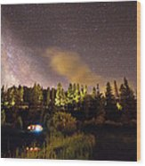 Pop Up Camper Under The Milky Way Sky Wood Print