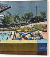 Pop Up Pool In Brooklyn Bridge Park Wood Print