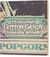 Popcorn Stand Carnival Photograph From The Summer Fair Wood Print