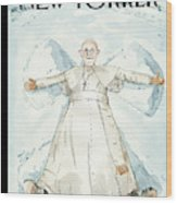 Pope Francis Makes A Snow Angel Wood Print