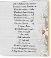 Pope Francis St. Francis Simple Prayer Daisies Wood Print by Desiderata Gallery