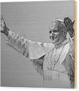 Pope John Paul II Bw Wood Print by Ylli Haruni