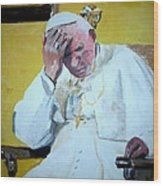 Pope Praying Wood Print