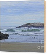 Popham Beach Surf Wood Print
