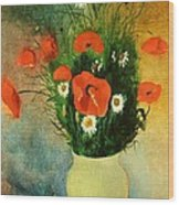 Poppies And Daisies Wood Print by Odilon Redon