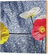 Poppies And Granite Wood Print