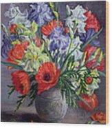 Poppies And Irises Wood Print