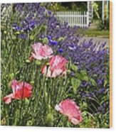 Poppies And Lavender Wood Print