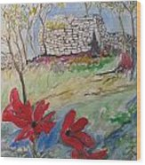 Poppies And Ruins Wood Print