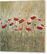 Poppies And Wild Flowers Wood Print