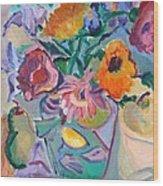 Poppies Wood Print by Brenda Ruark