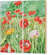Poppies Collage I Wood Print