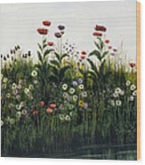 Poppies, Daisies And Thistles Wood Print