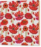 Poppies Field. Seamless Vector Pattern Wood Print