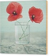 Poppies In A Glass, Still Life Wood Print